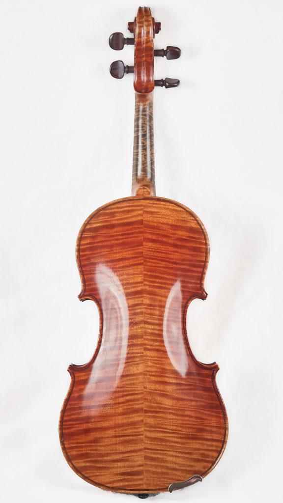 Back of antique violin