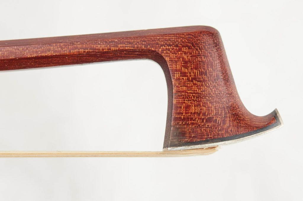 Tip of violin bow